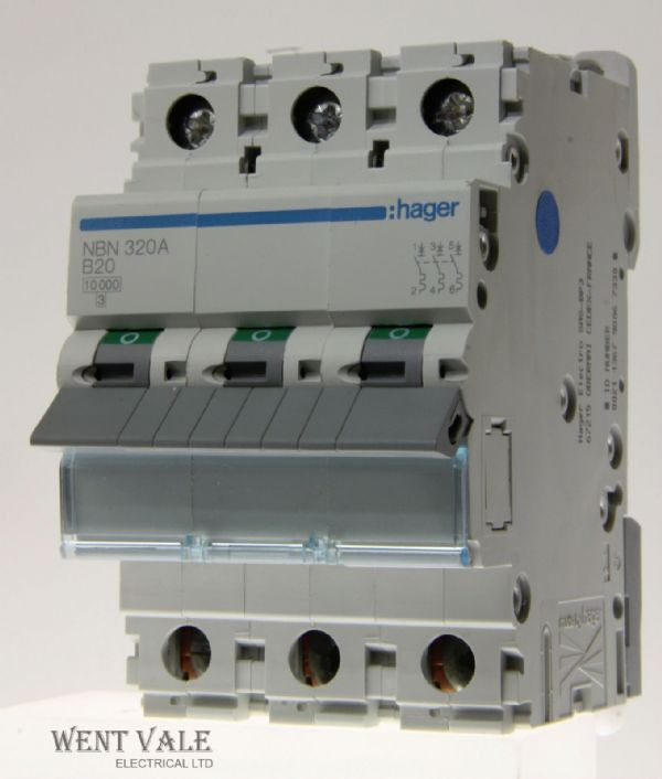 Hager NBN320 - 20a Type B Triple Pole MCB Unused
